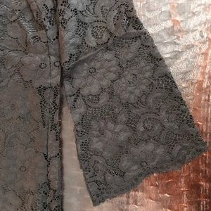 Black lace shift dress.